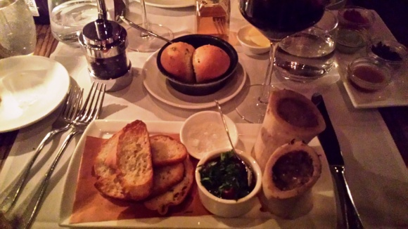 delicious bread and bone marrow