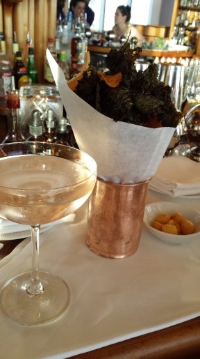 Champagne Cocktail and kale chips
