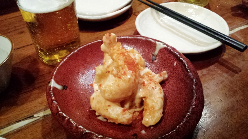 Spicy prawns with mayonaise