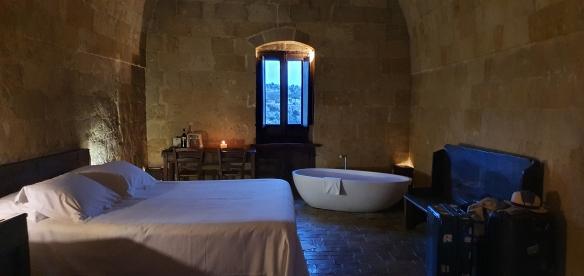 Hotel room at Sextantio, Matera, Italy