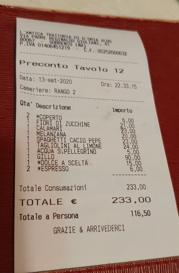 The bill, L'Antica Trattoria, Sorrento